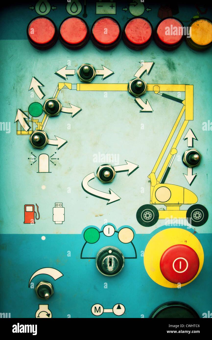 Anweisungen, Notfall, Systemsteuerung Stockbild