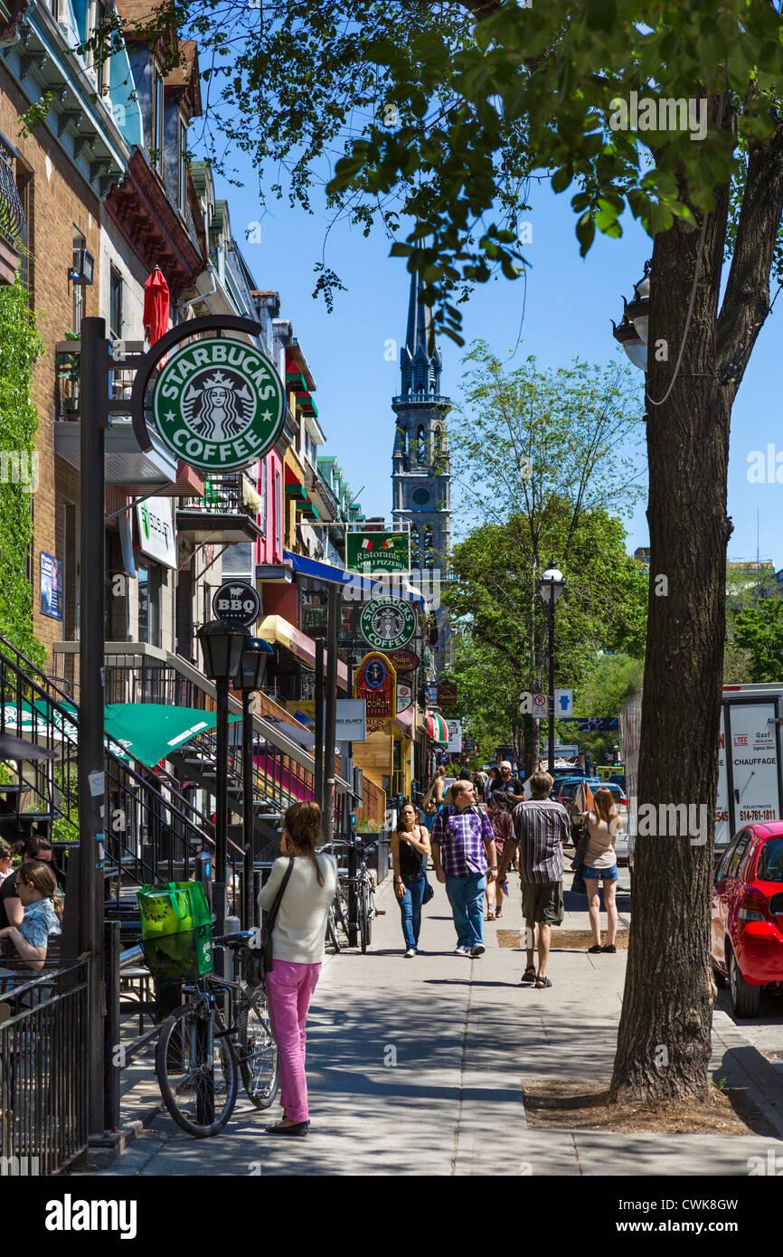 Bars, Cafés, Restaurants und Geschäfte entlang der Rue Saint-Denis in das Quartier Latin (Quartier Latin), Stockbild