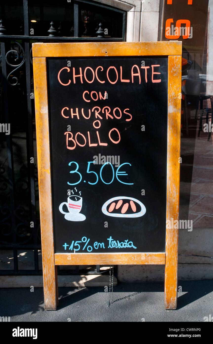 Frühstück Speisekarte an Bord. Madrid, Spanien. Stockbild