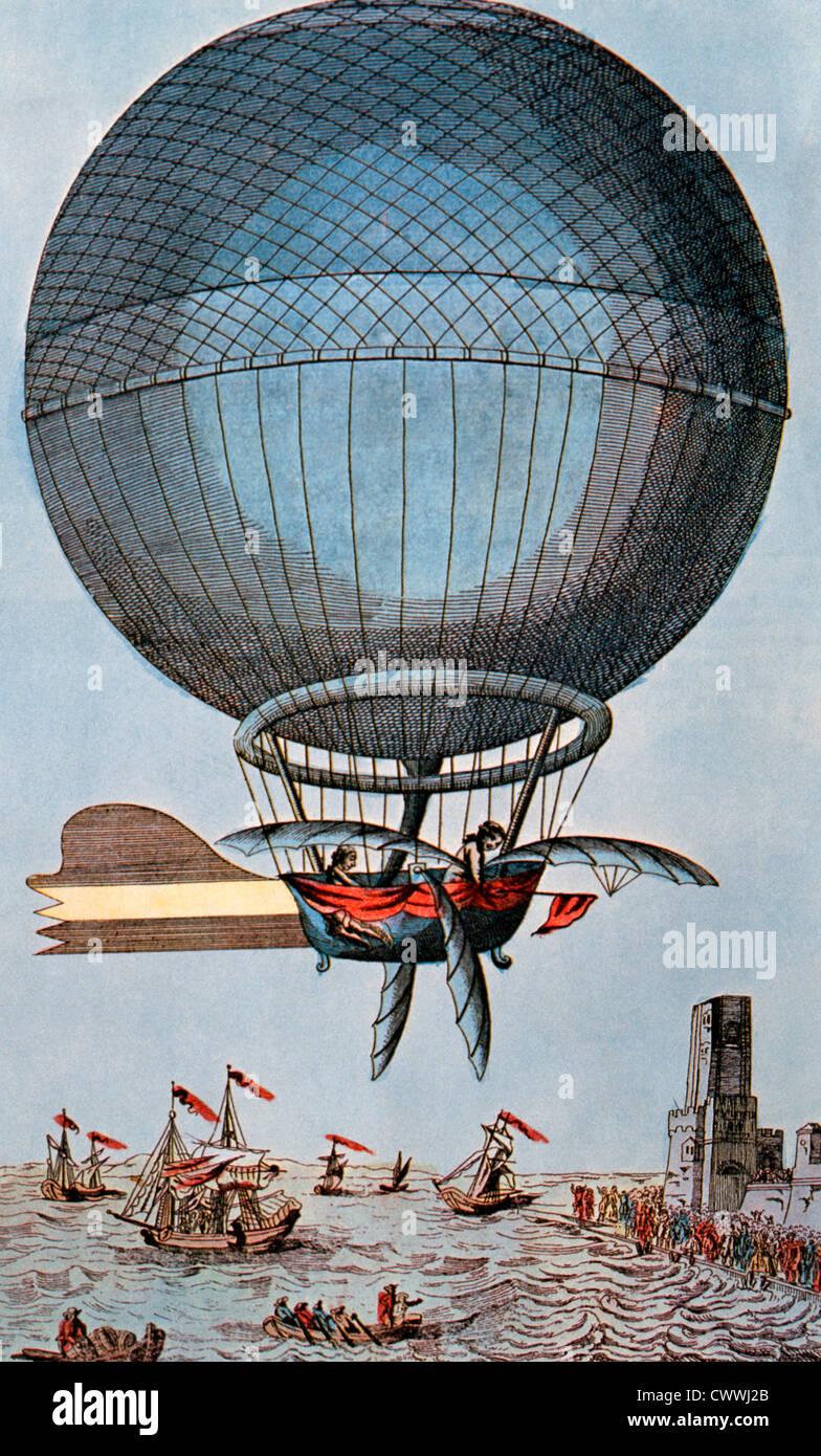 Blanchard und Jeffries überqueren den Ärmelkanal mit einem Ballon, 1785, Illustration Stockbild