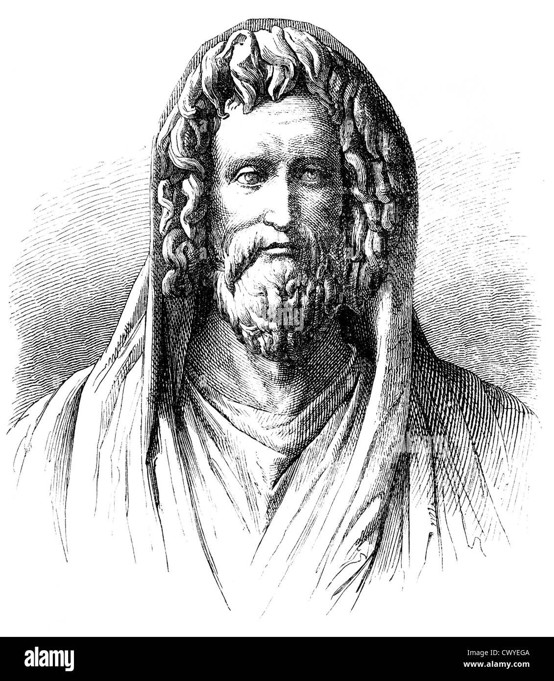 Numa Pompilius, 750-672 v. Chr., der legendäre zweite König von Rom, Stockbild