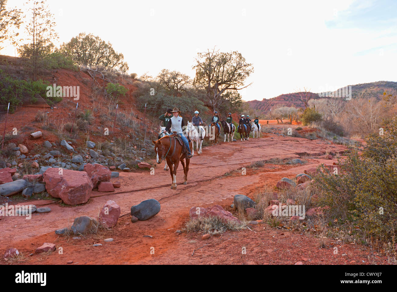 Reiten in Sedona Arizona Stockbild
