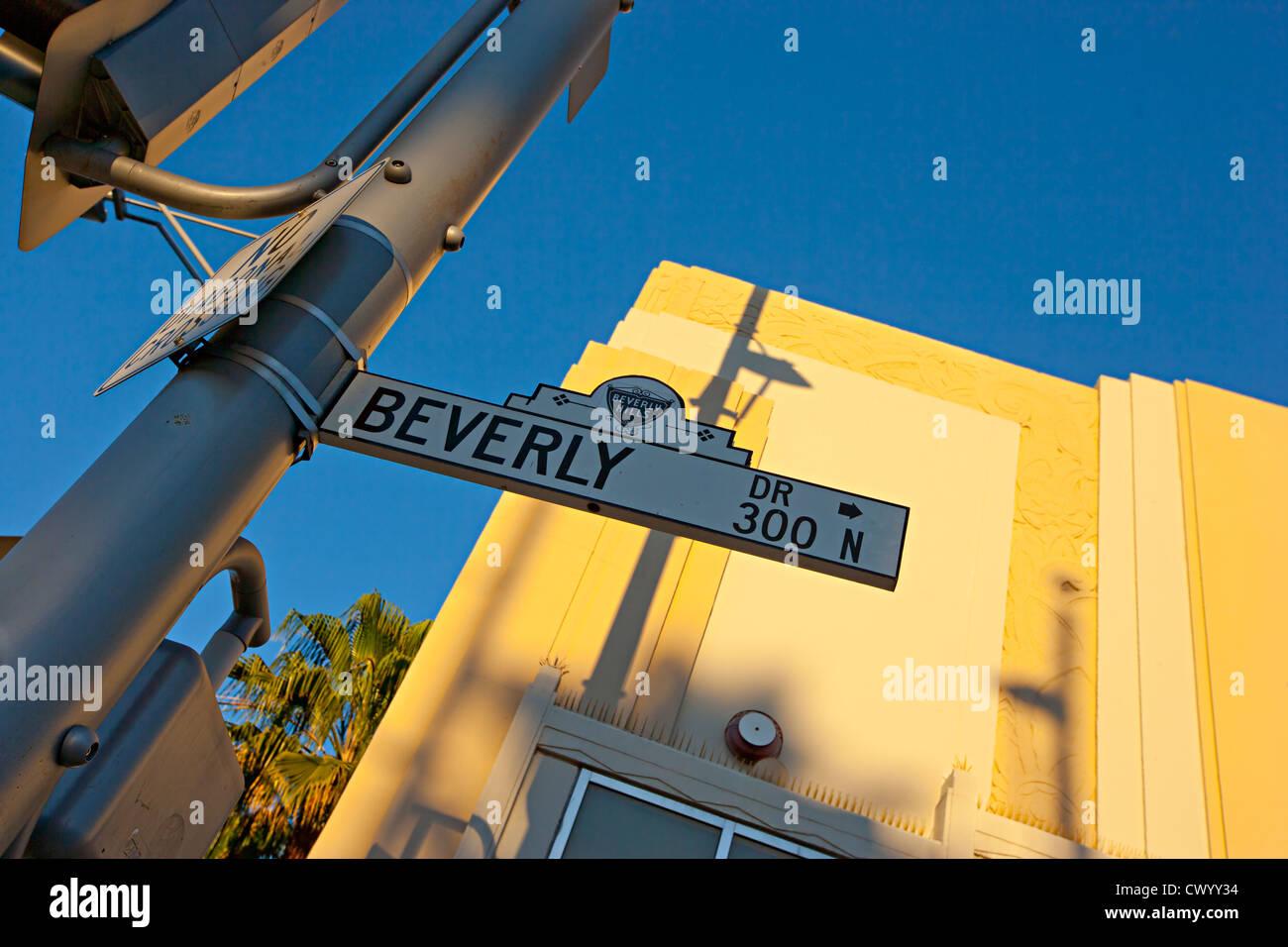 Beverly Hill Straßenschild LA USA Stockbild