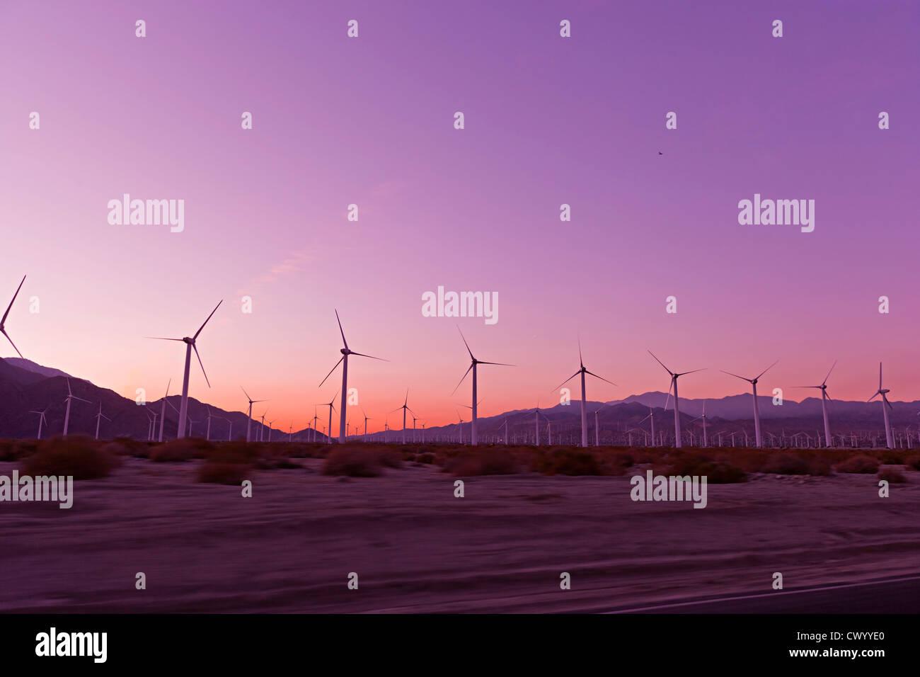Sonnenuntergang über Windkraftanlagen in der Wüste Palm springs, USA Stockbild