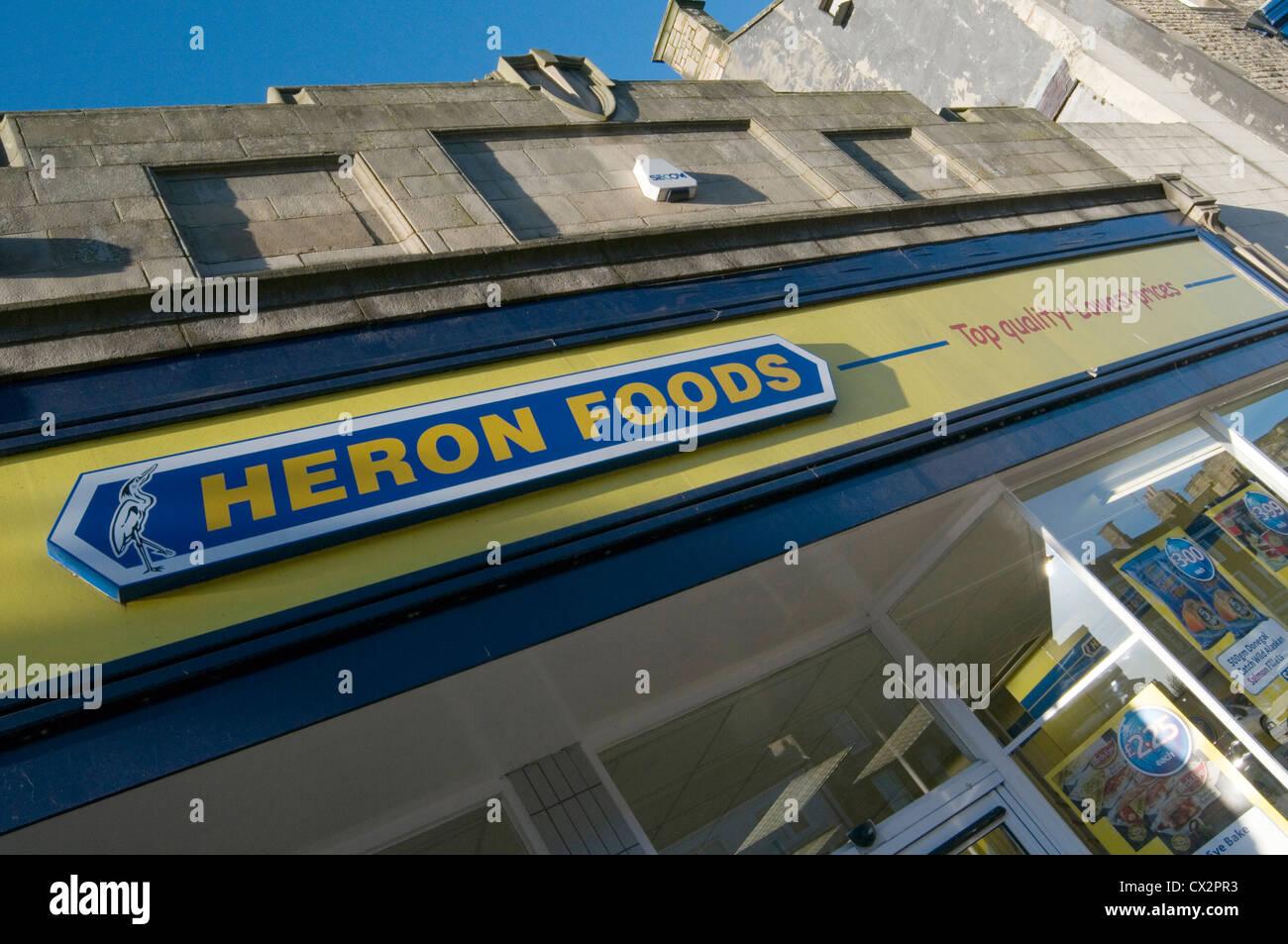 Heron Lebensmittel Haushalt Shop Shops billige Lebensmittel Supermarkt regionale Einzelhandelskette Stockbild