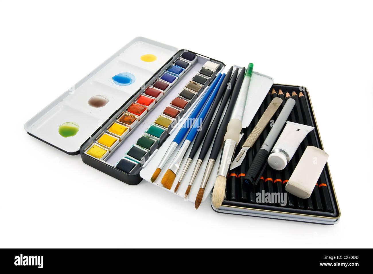 Arstists Aquarell Pinsel, Farben und Ausstattung Stockbild