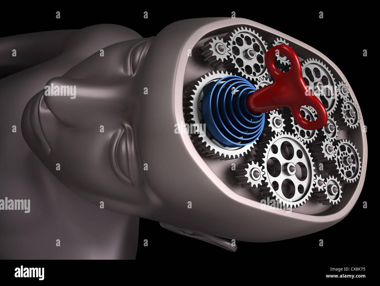 Das menschliche Gehirn ist eine Reihe von Zahnrädern. Wichtige Teile unseres Gehirns sind miteinander verbunden. Stockbild