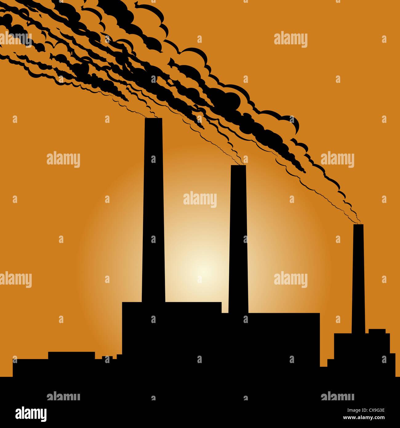 Schaltung von Industriegebäuden und Rauchende Schlote gegen die untergehende Sonne. Stockbild