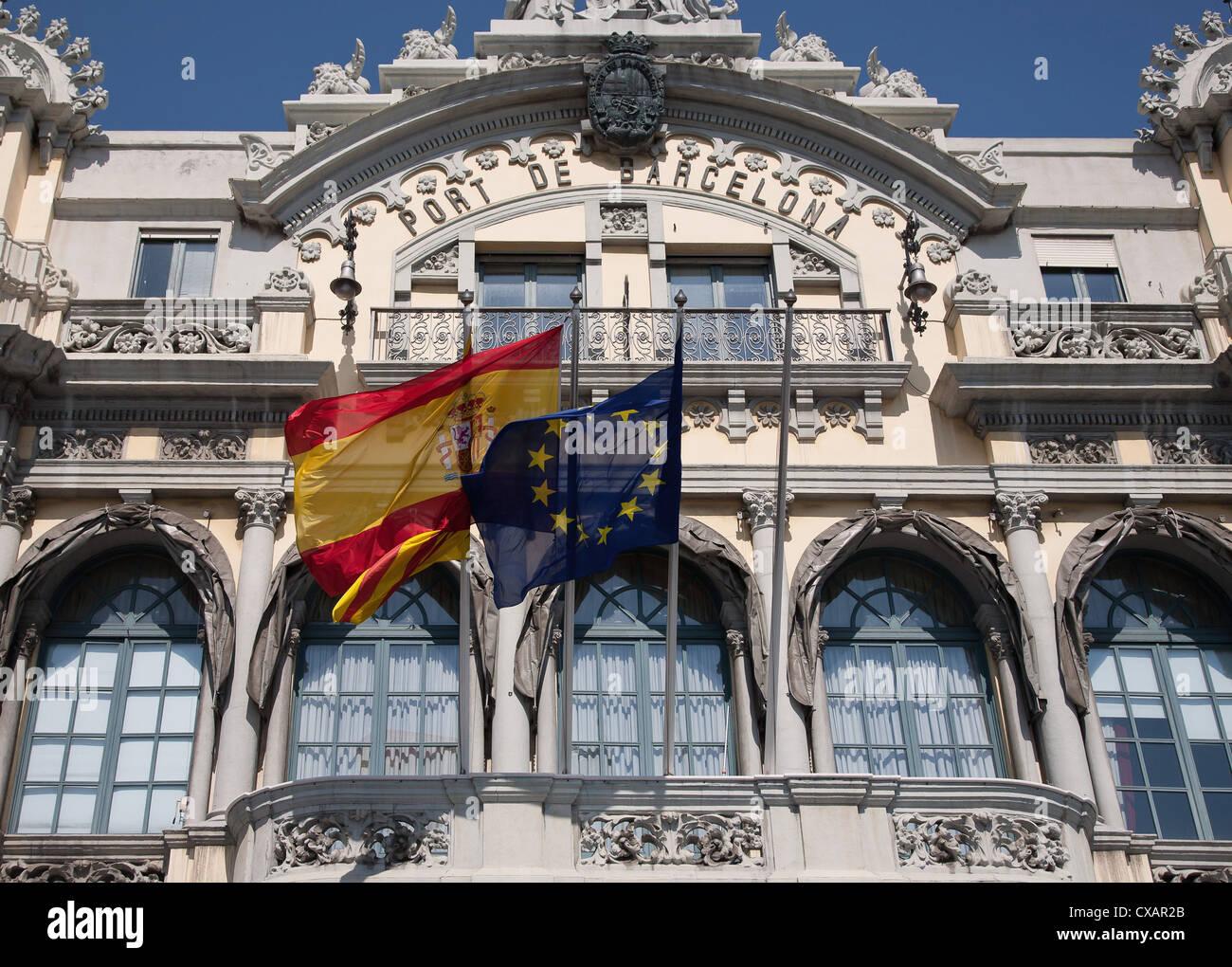 Alten Barcelona Port Authority-Haus (Port de Barcelona) an der Basis der Rambla del Mar, Barcelona, Katalonien, Stockbild