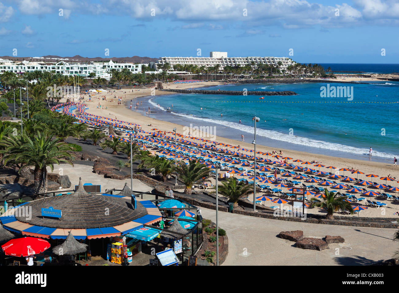 Playa de Las Cucharas, Costa Teguise, Lanzarote, Kanarische Inseln, Spanien, Atlantik, Europa Stockbild