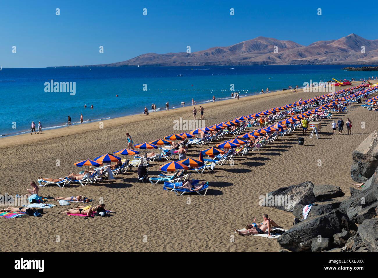 Playa Grande, Puerto del Carmen, Lanzarote, Kanarische Inseln, Spanien, Atlantik, Europa Stockbild