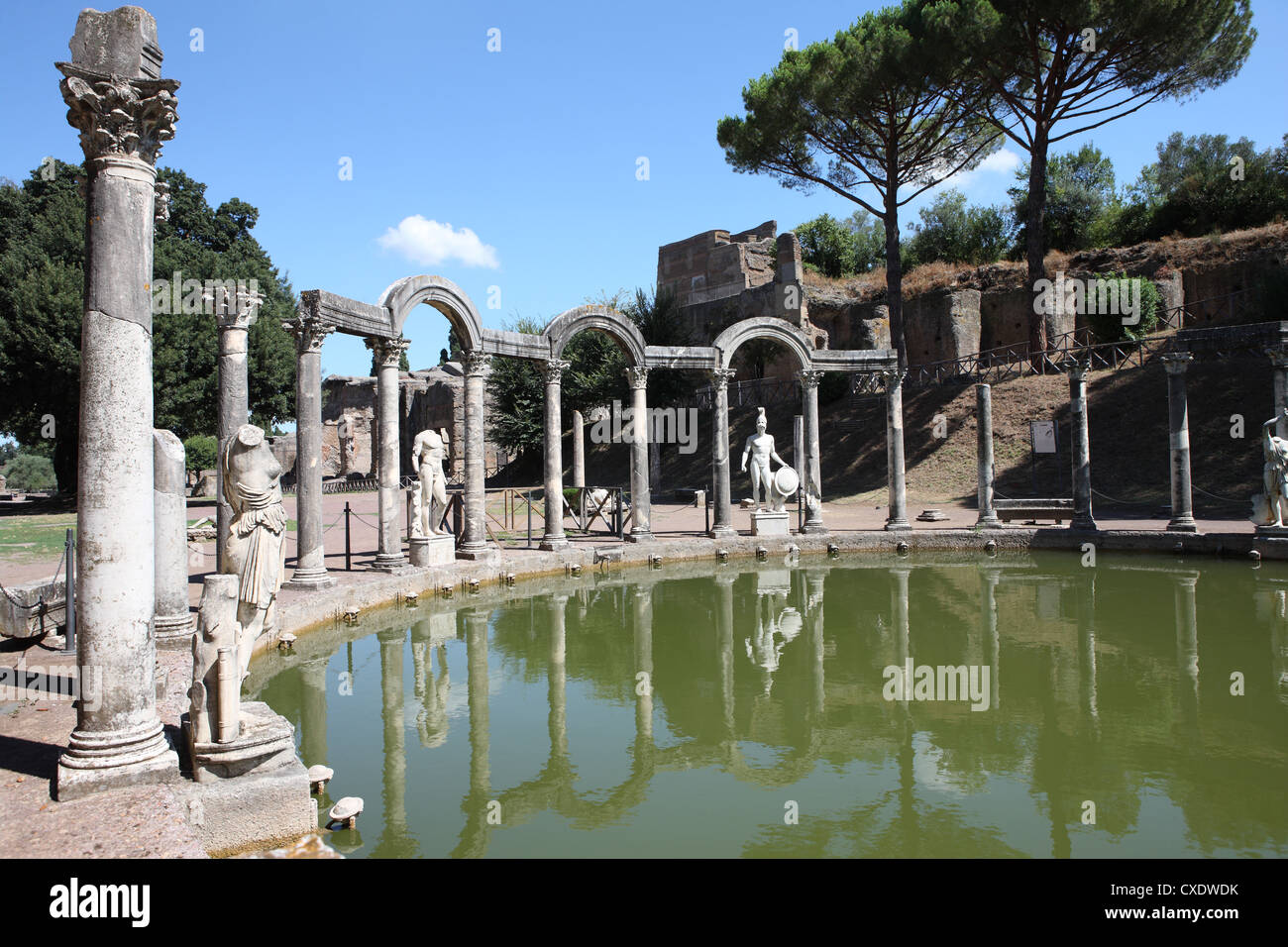 Hadrians Villa, Canopus Canal, UNESCO Welt Erbe Website, Tivoli, Rom, Latium, Italien, Europa Stockbild