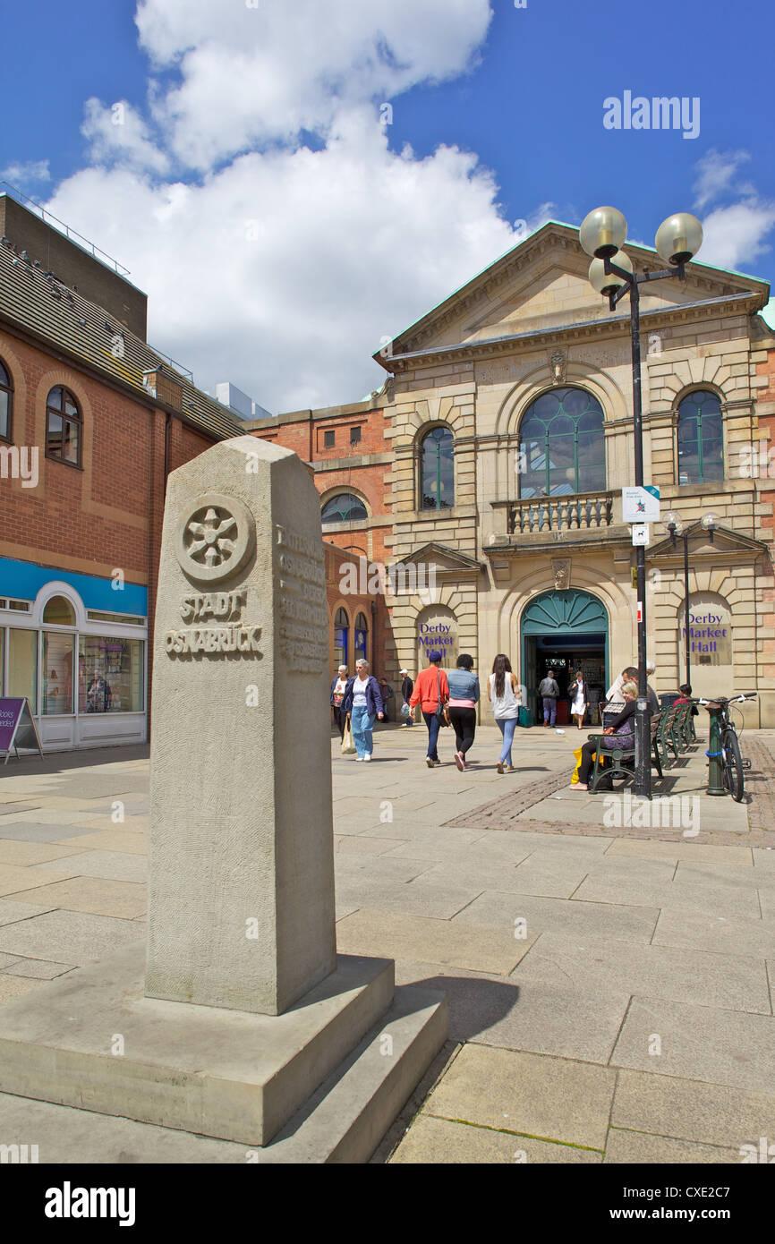 Markthalle Eingang, Derby, Derbyshire, England, Vereinigtes Königreich, Europa Stockbild