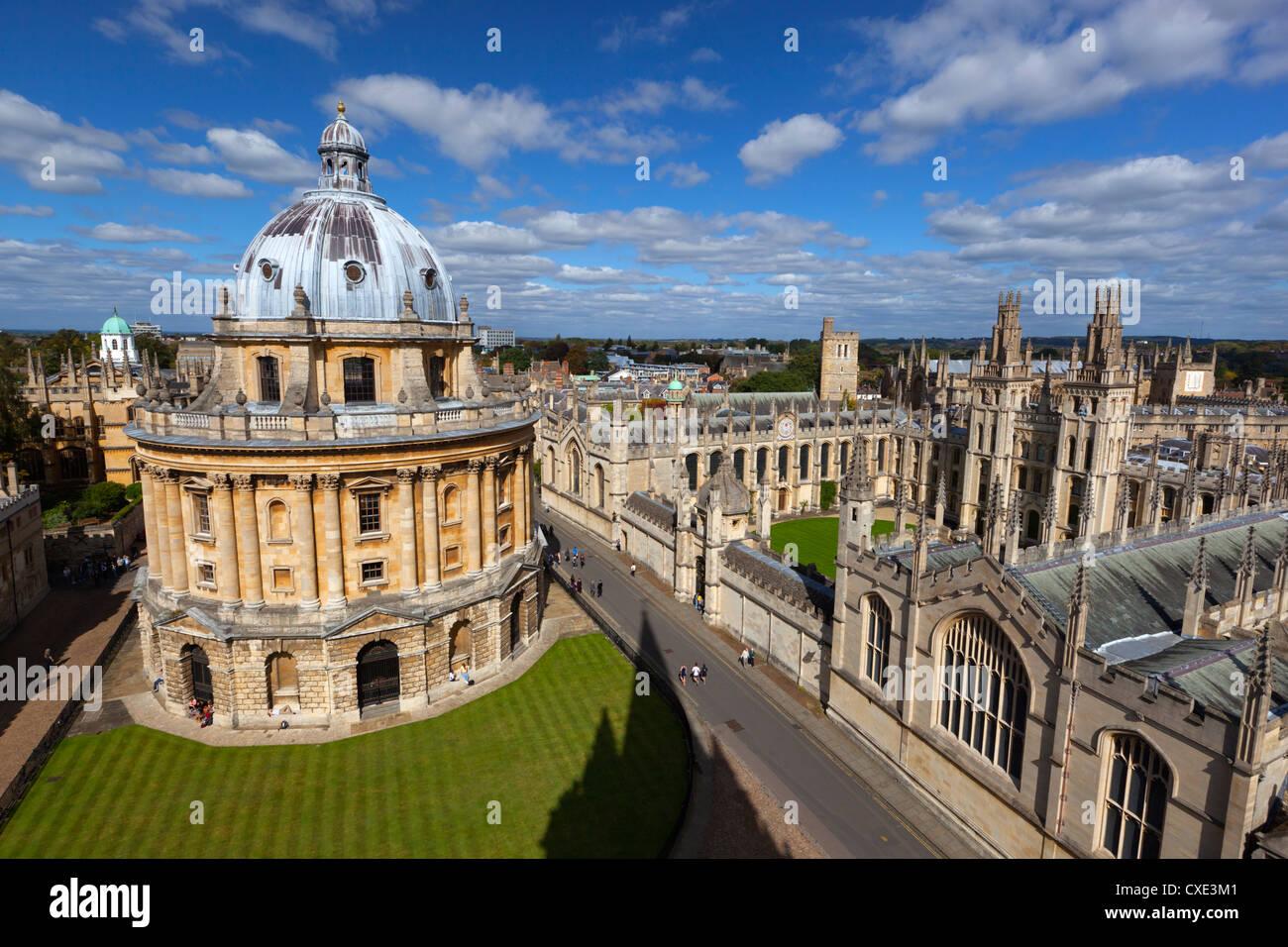 Blick über Radcliffe Camera und All Souls College, Oxford, Oxfordshire, England Stockbild
