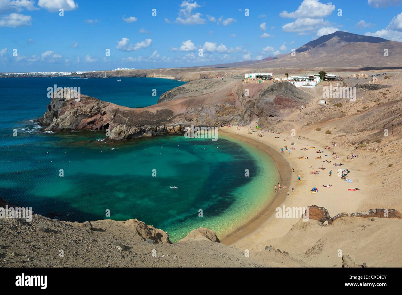 Playa del Papagayo, in der Nähe von Playa Blanca, Lanzarote, Kanarische Inseln, Spanien Stockbild
