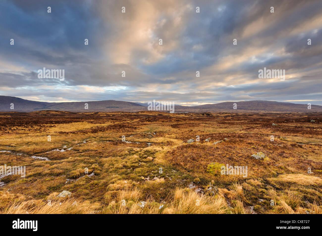 Morgendämmerung über offene weite des Rannoch Moor, in der Nähe von Glencoe, Schottisches Hochland, Stockbild