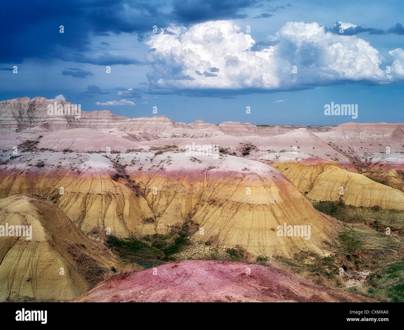 Bunte Felsen an Badlands Nationalpark, South Dakota Stockbild