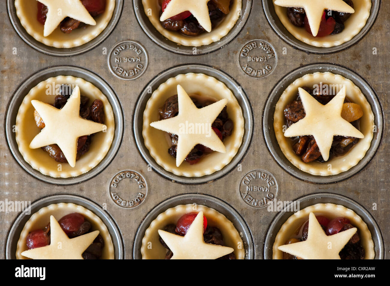 Mince Pies in ein Backblech Stockfoto