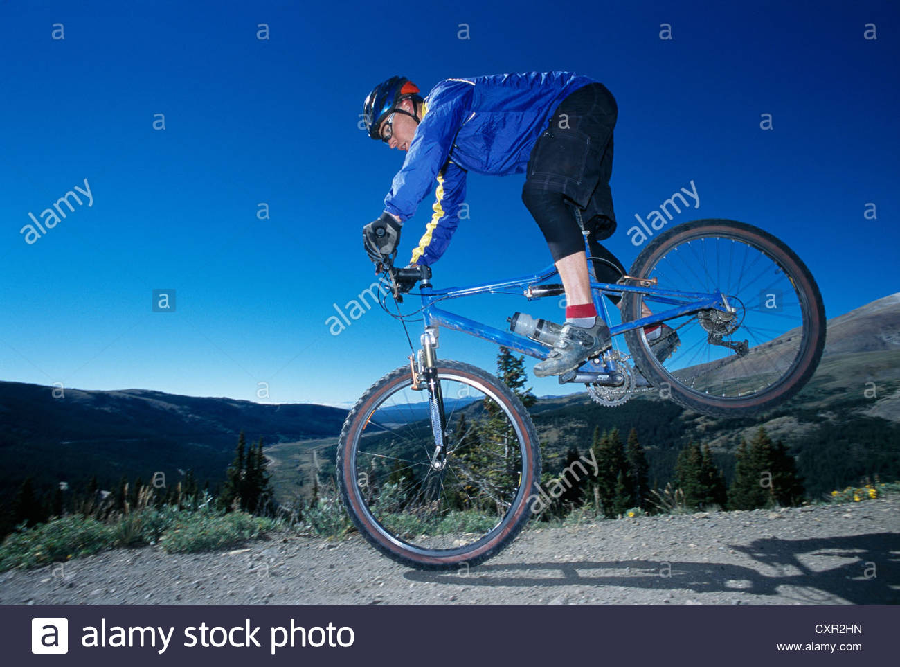 Mountainbiker in Aktion, Breckenridge, Colorado, USA Stockbild