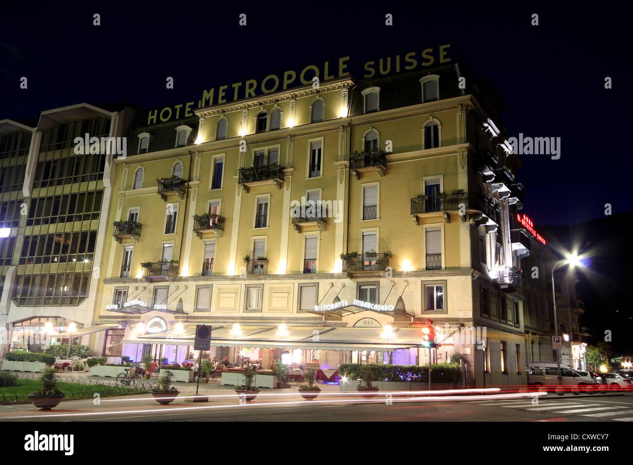 ein schönes Bild von Hotel Metropole Suisse Nacht Comer See, Italien, Landschaft, Reisen, photoarkive Stockbild