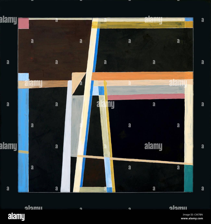 ein Gemälde - geometrischen Abstraktion auf schwarzem Hintergrund Stockbild