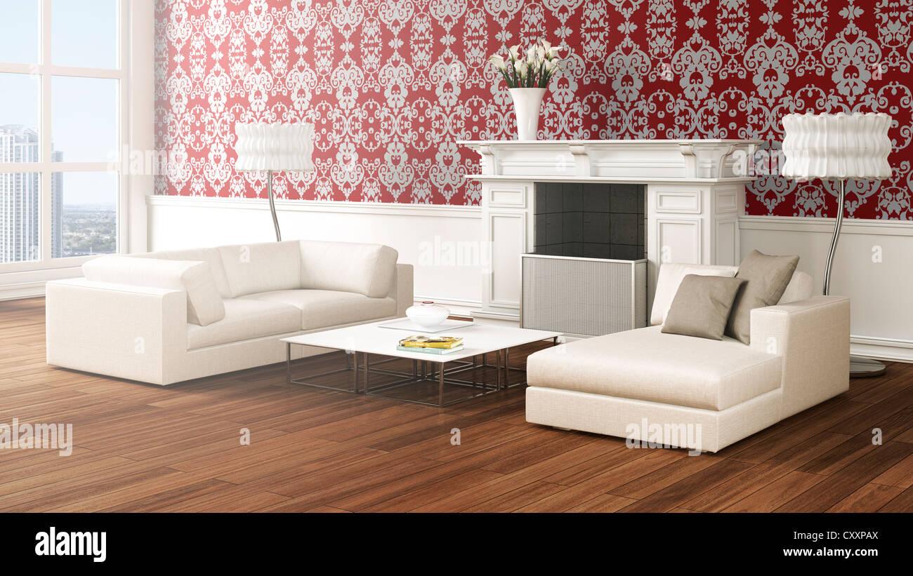 Loft Ahnliche Wohnzimmer Mit Sofas Lampen Couchtisch Kamin Vase