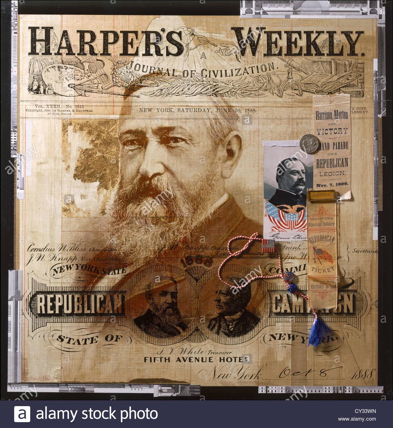 Eine Collage verfügt über amerikanische Politiker des 19. Jahrhunderts. Stockbild