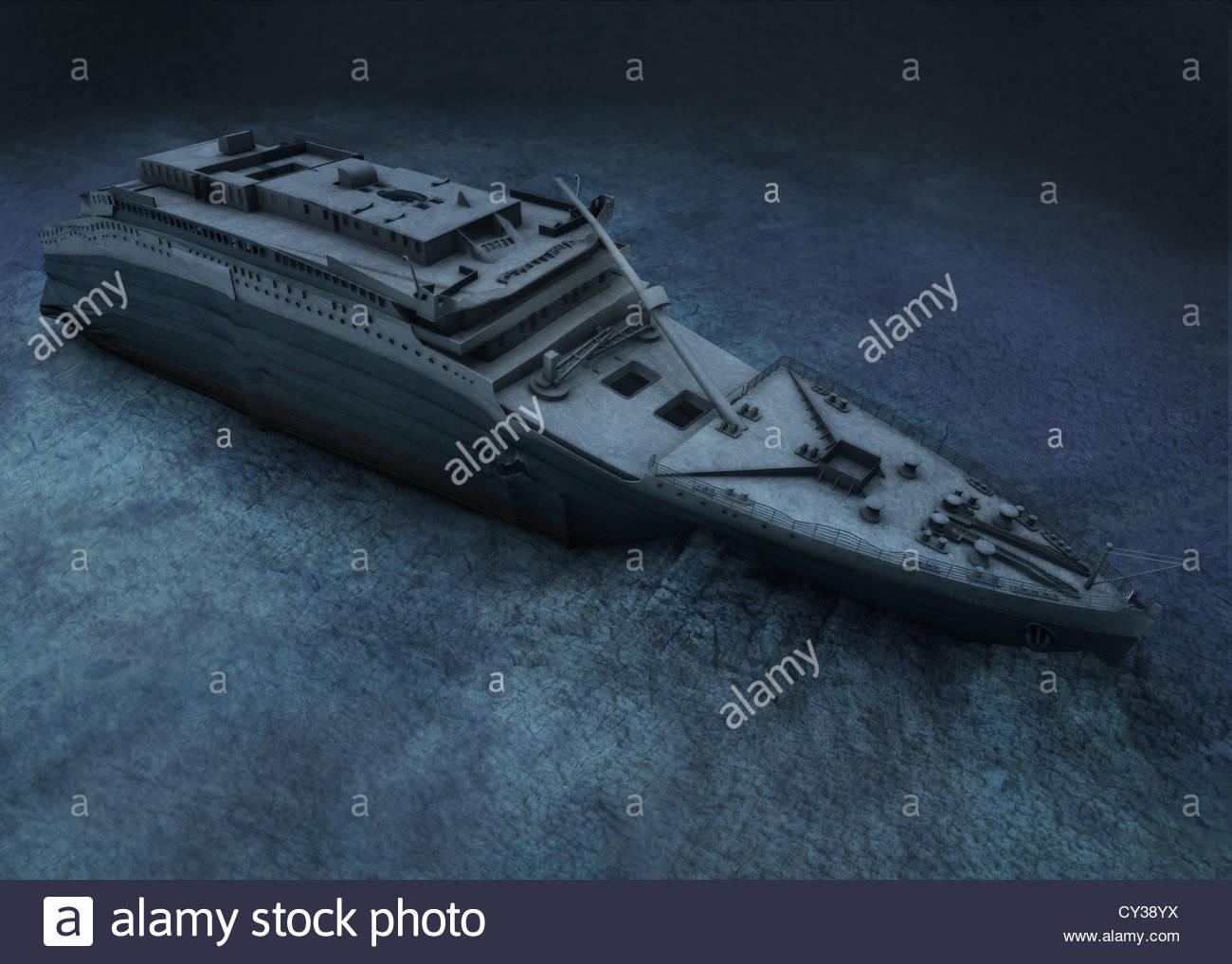 Das Heck der Titanic liegt auf dem Meeresboden. Stockbild