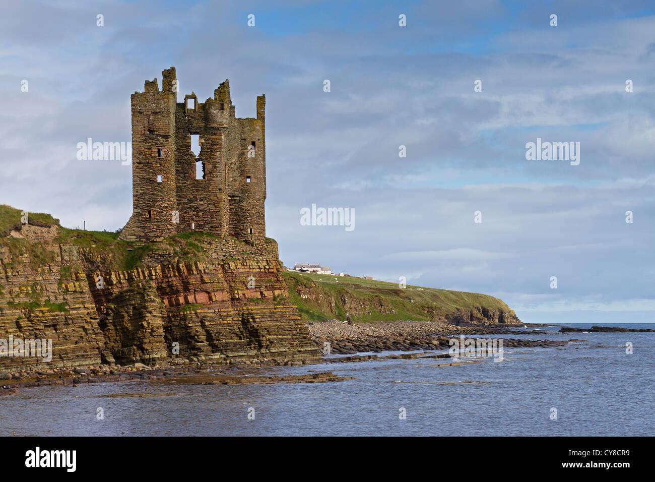 Keiss Schloss Caithness Küste Stockbild