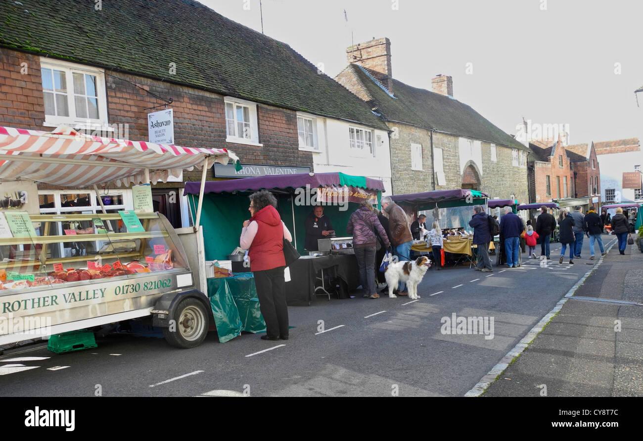 Bauernmarkt Petworth Sussex Stockbild