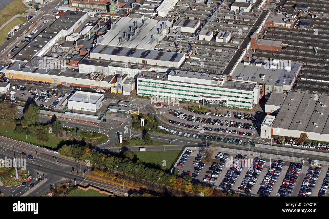 Luftaufnahme des Jaguar Auto Halewood Werk in Speke, Liverpool Stockbild