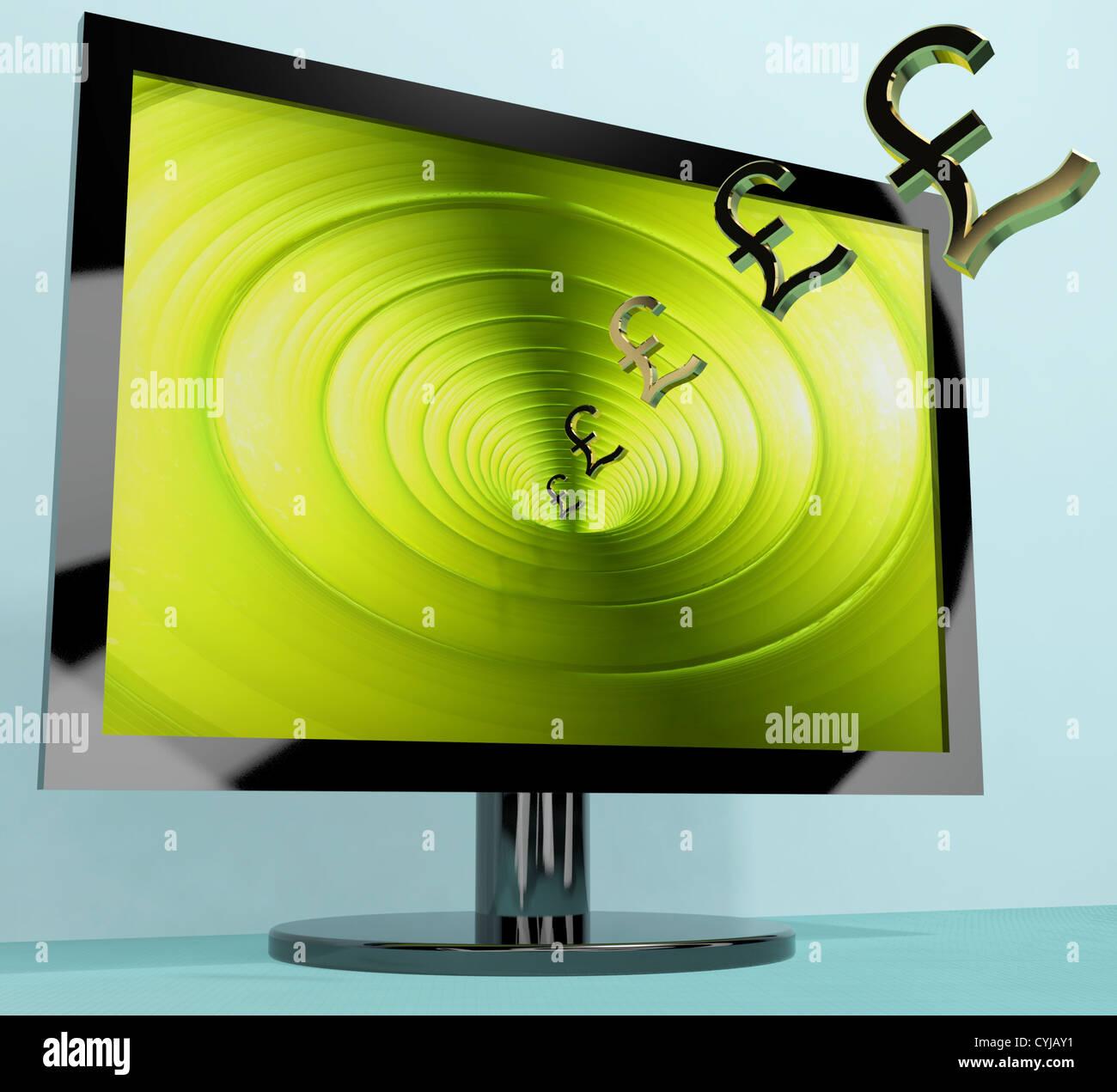 Pfund Symbole aus Bildschirm zeigt Interesse oder Gewinne Stockbild