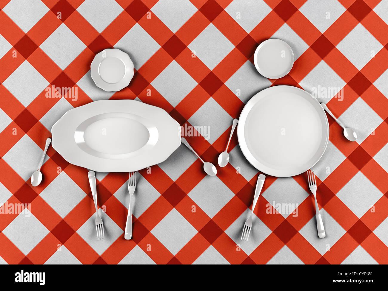 Figuren von Männern und Frauen, stilisierte durch Gerichte auf einem Muster-Hintergrund Stockbild