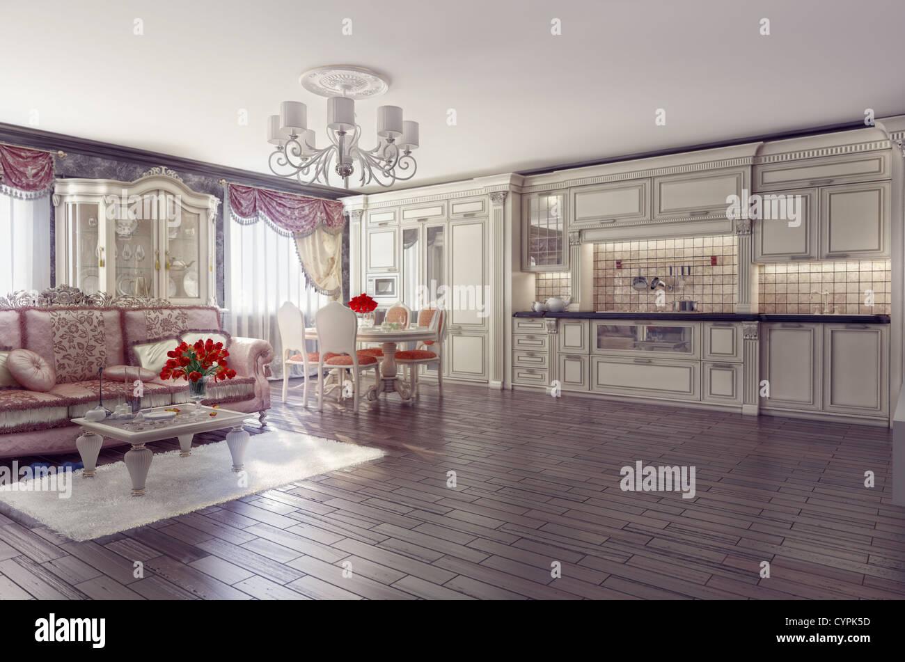 Attractive Luxus Küche The Best Of Küche Interieur Im Klassischen Stil (3d-rendering)