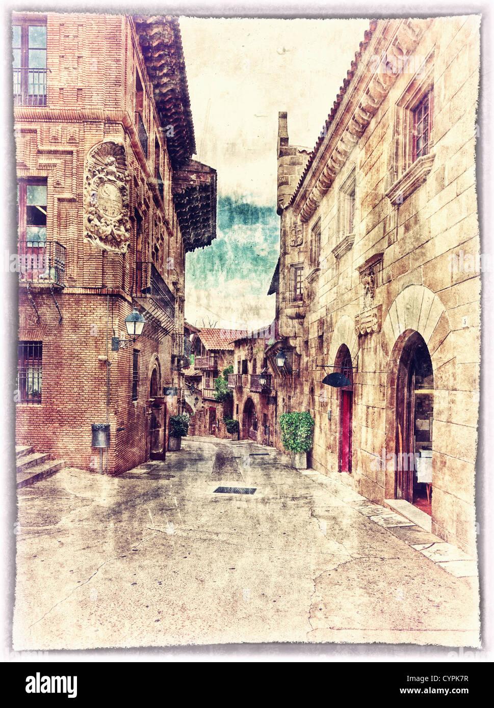 Vintage-Stil-Postkarte von traditionellen architektonischen Komplex in Barcelona, Spanien Stockbild