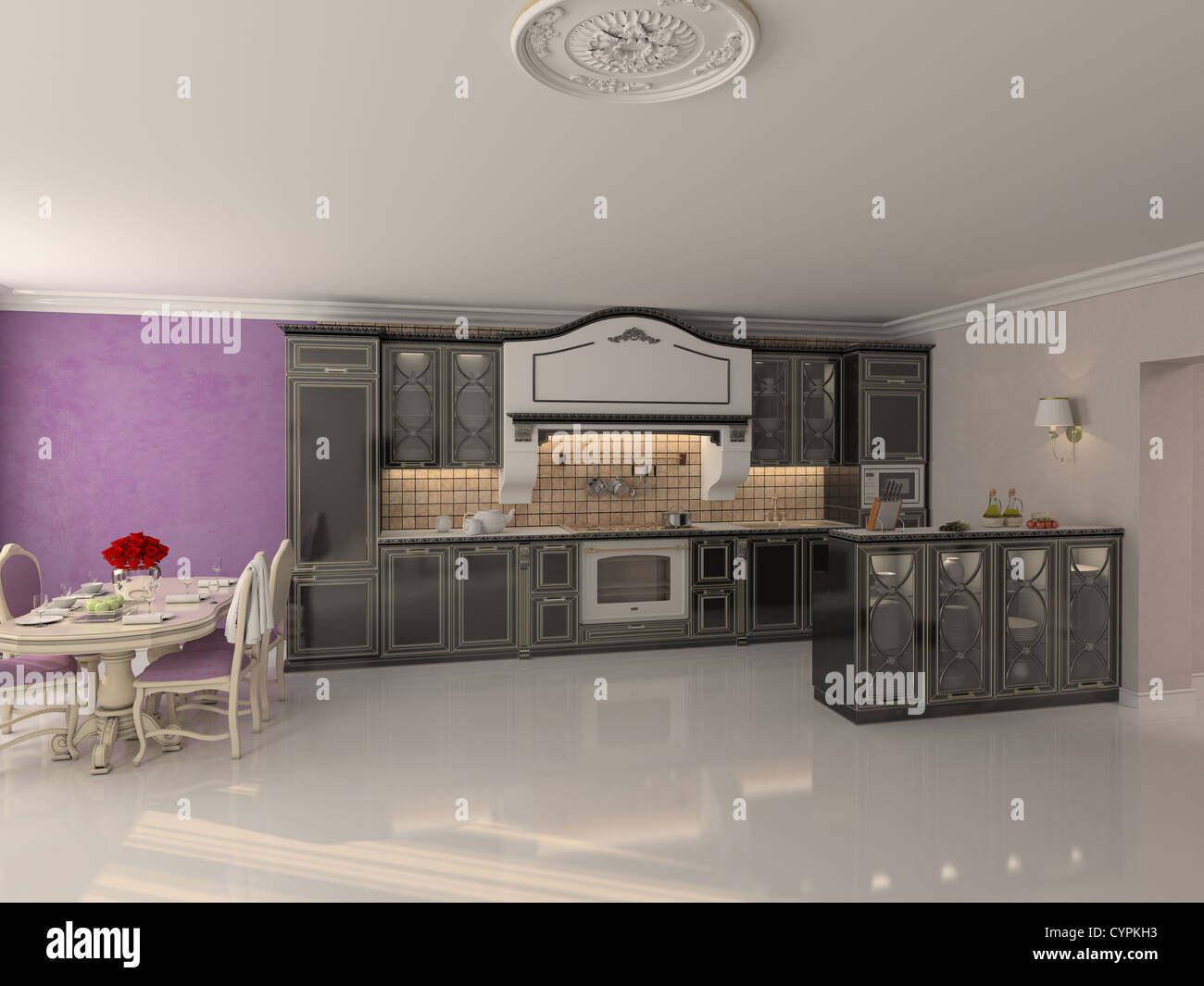 Luxus Küche Interieur im klassischen Stil (3D-Rendering) Stockbild