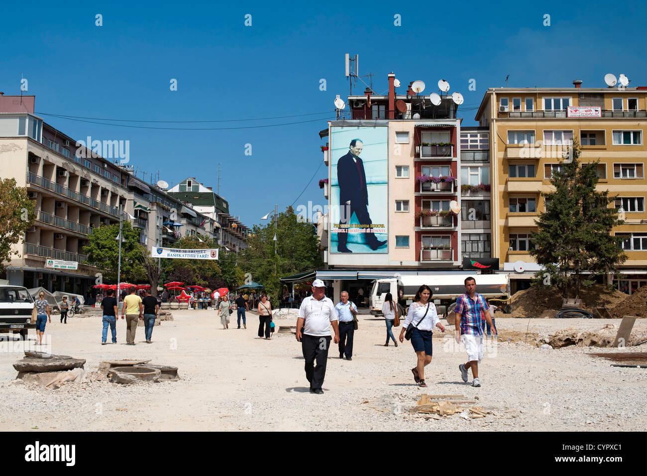 Umbauarbeiten im Zentrum von Pristina, der Hauptstadt der Republik Kosovo. Stockbild