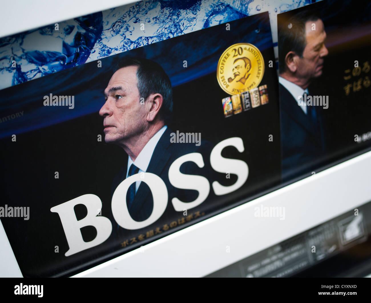 Kaffee Werbung in Japan mit Promi-Chef / Schauspieler Tommy Lee Jones Stockbild