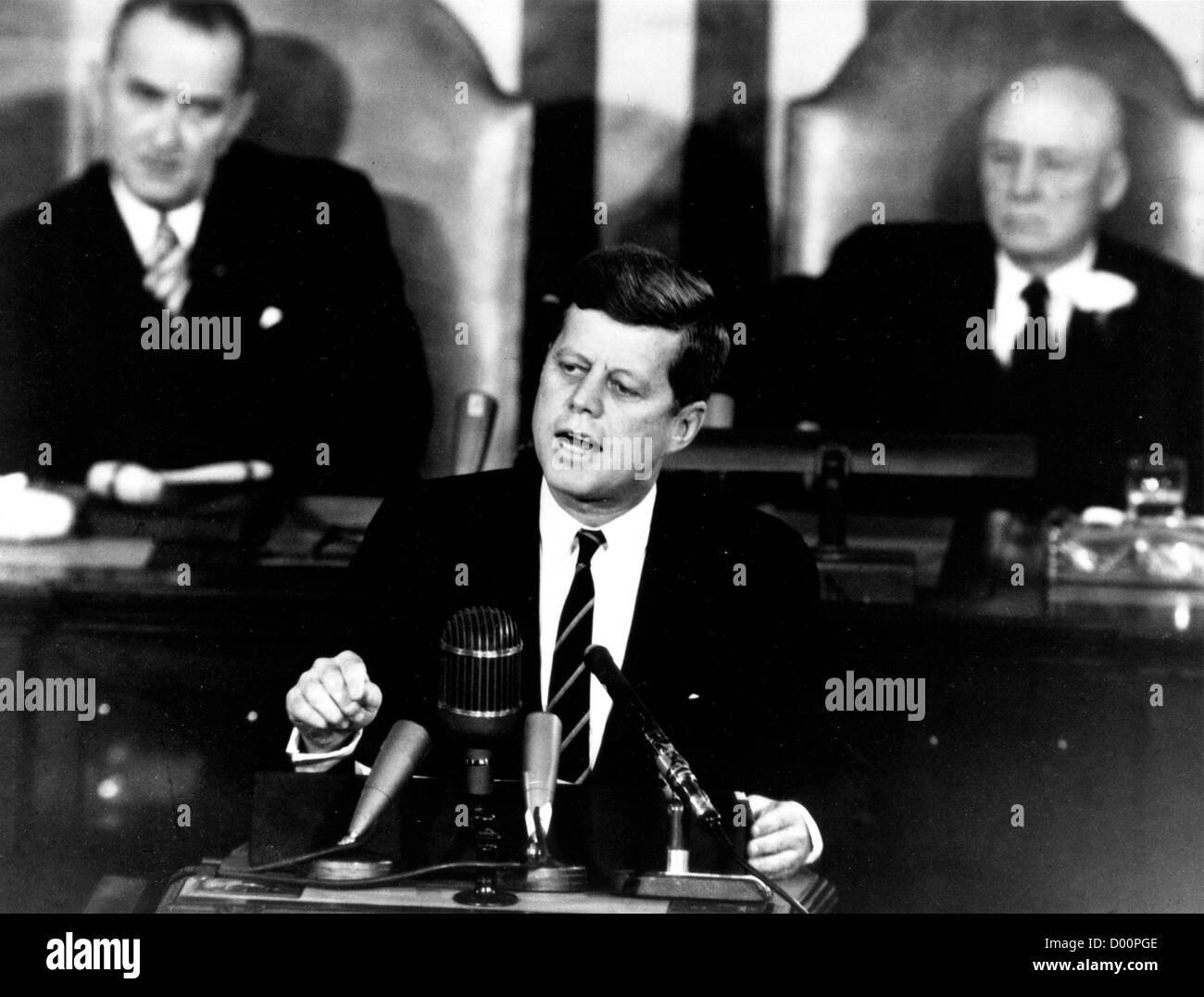 Präsident John f. Kennedy mit historischen Rede Stockbild