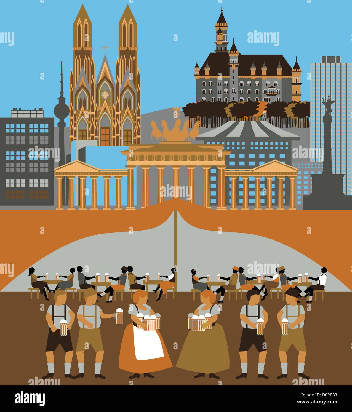 Darstellung, die Top-Attraktionen in Deutschland Stockbild