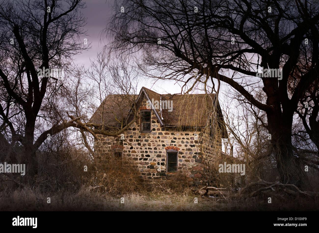 Kleinen verlassenen Haus im Wald Stockbild