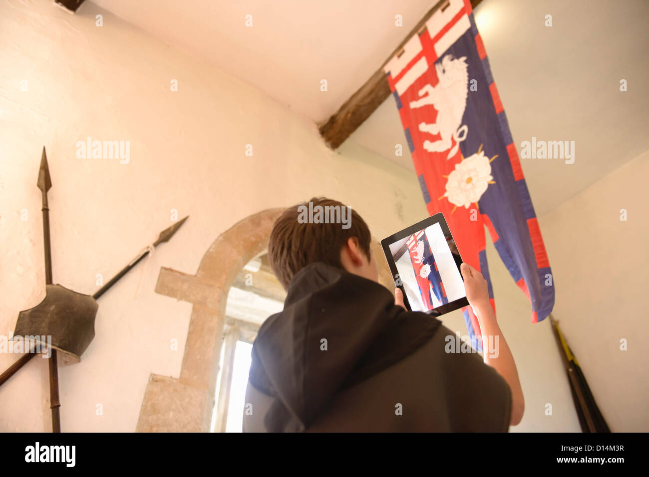 Schüler unter Bild mit computer Stockbild