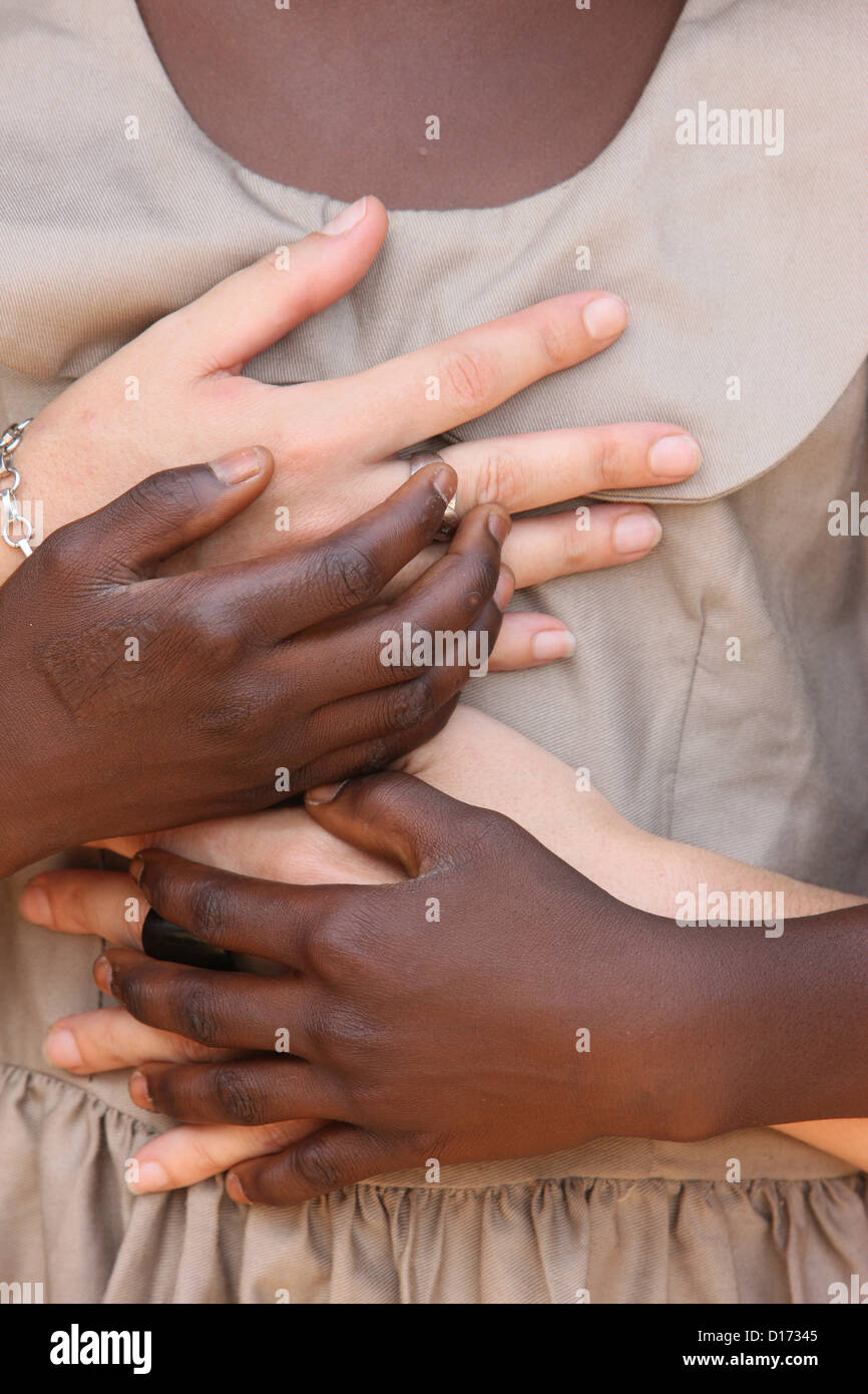 Sponsor und Kind in Afrika. Stockbild