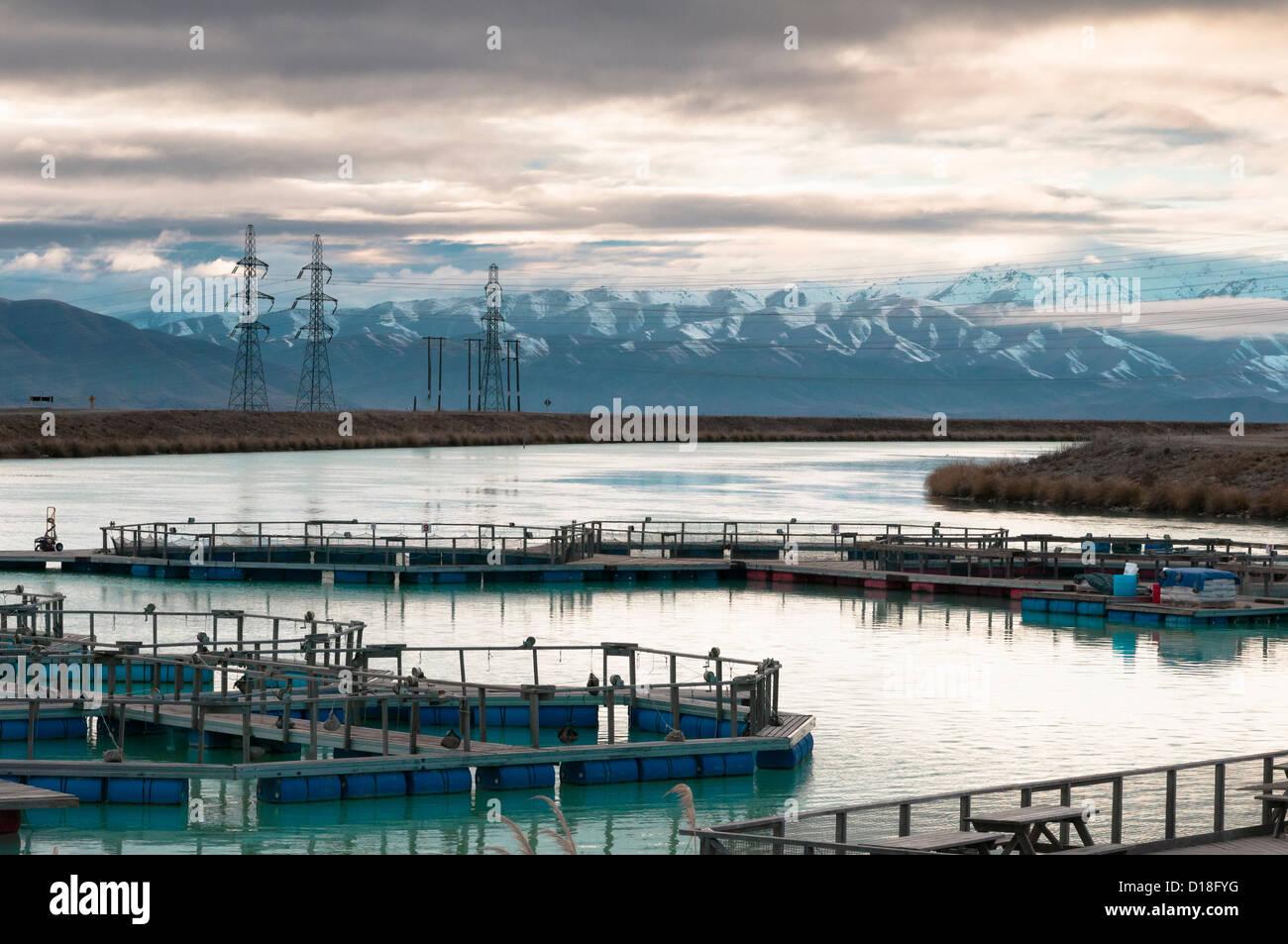 Fischfarm in ländlichen Landschaft Stockbild