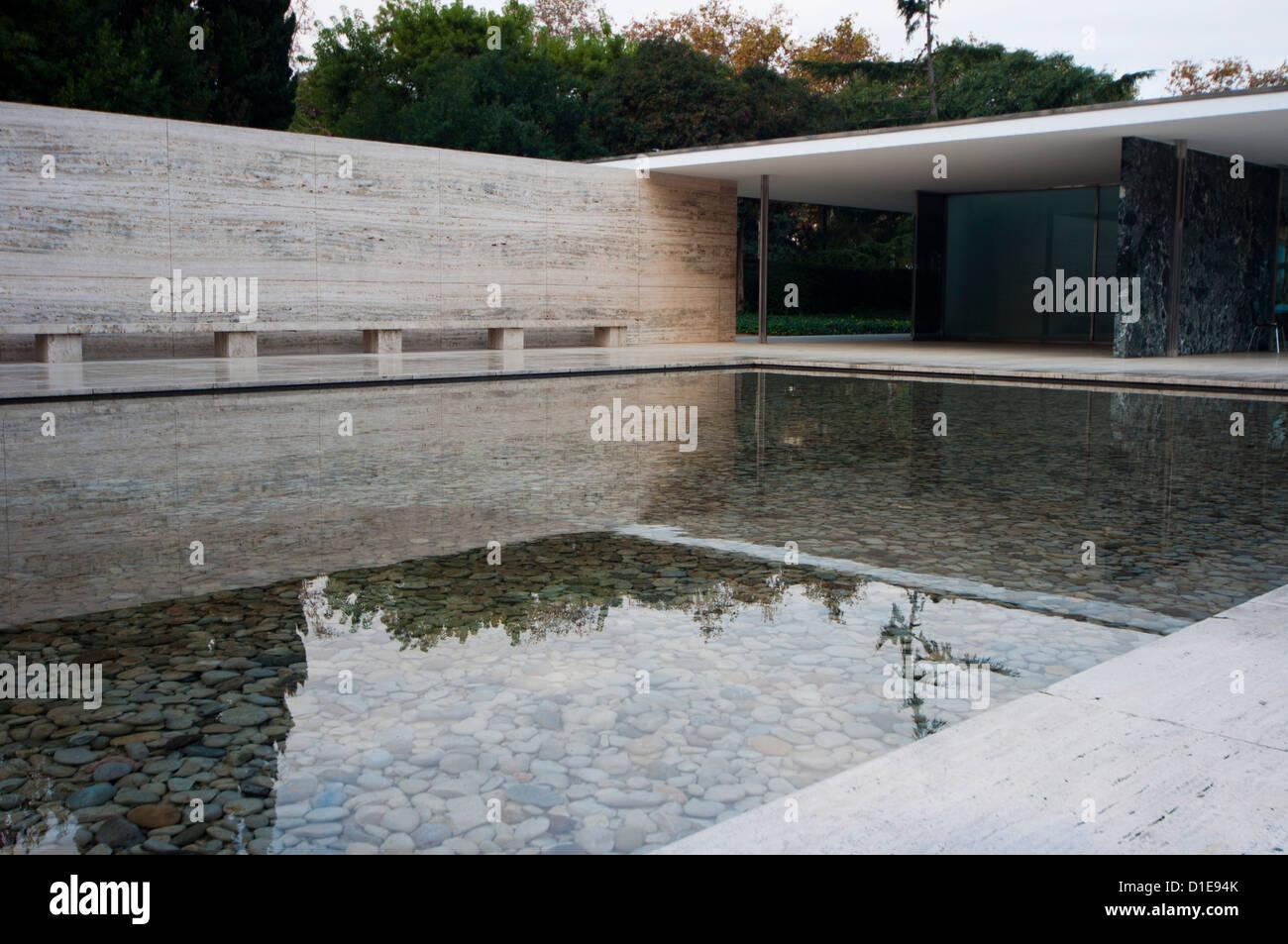 Rekonstruktion des deutschen Pavillon Van Der Rohe Barcelona Ausstellung, Barcelona, Catalunya (Katalonien), Spanien Stockbild