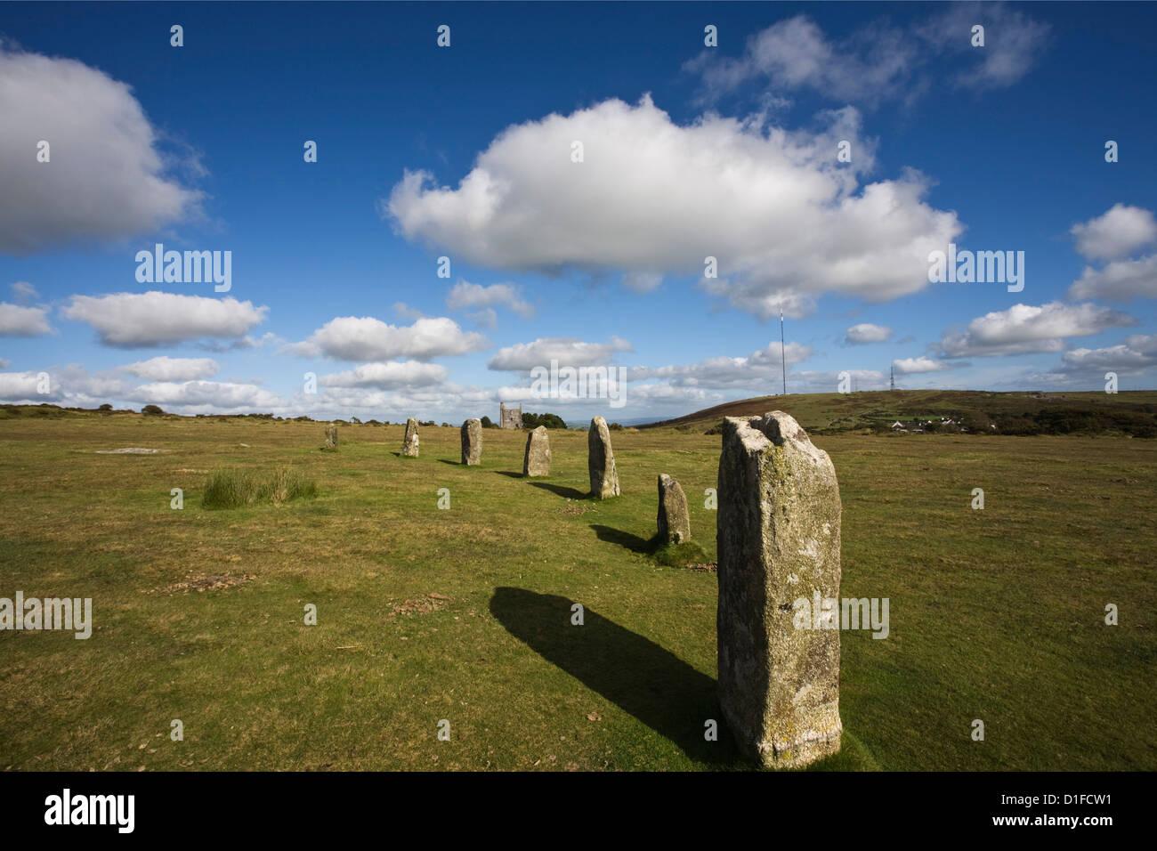Die Hurlers (Steinkreis), Diener, Bodmin Moor, Cornwall, England, Vereinigtes Königreich, Europa Stockbild