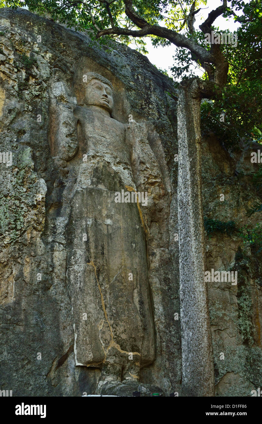 Buddha Bild, Dhowa Rock Temple, Bandarawela, Sri Lanka, Asien Stockbild