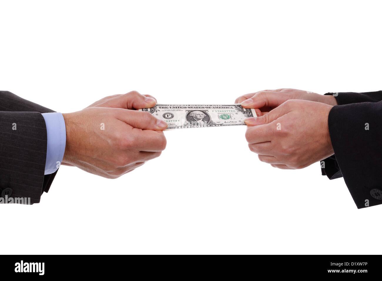 Streiten sich um Geld Stockbild