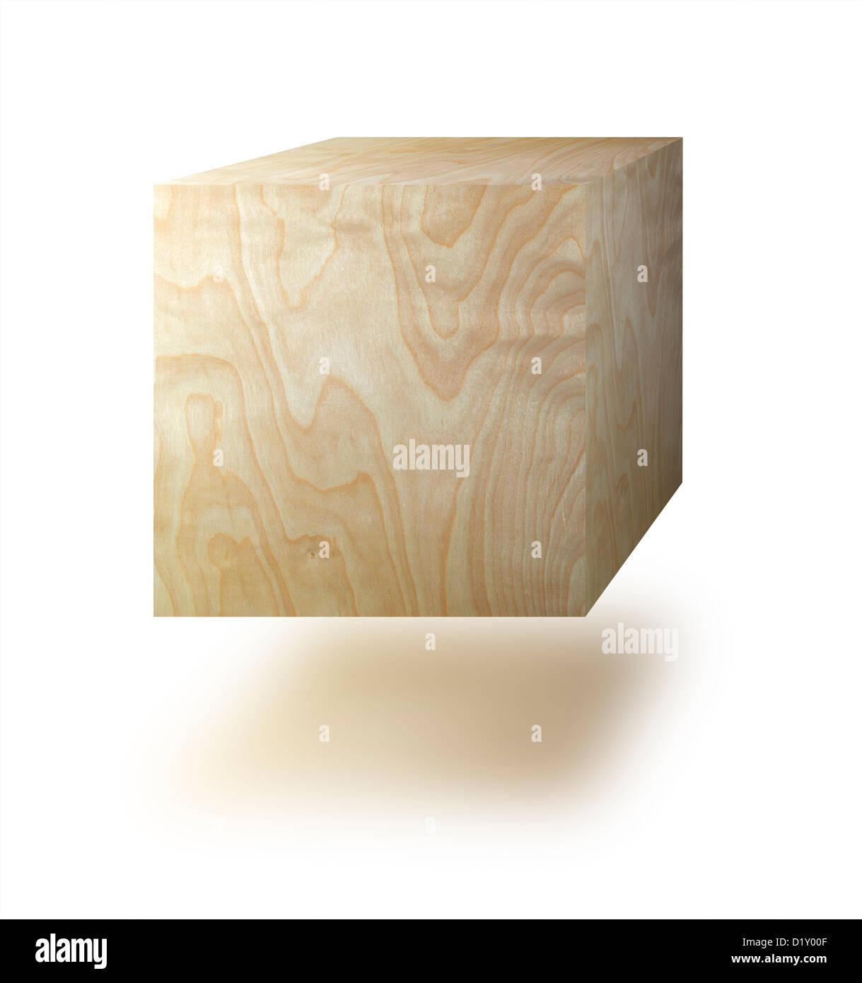 Würfel aus Holz vor einem weißen Hintergrund Stockbild