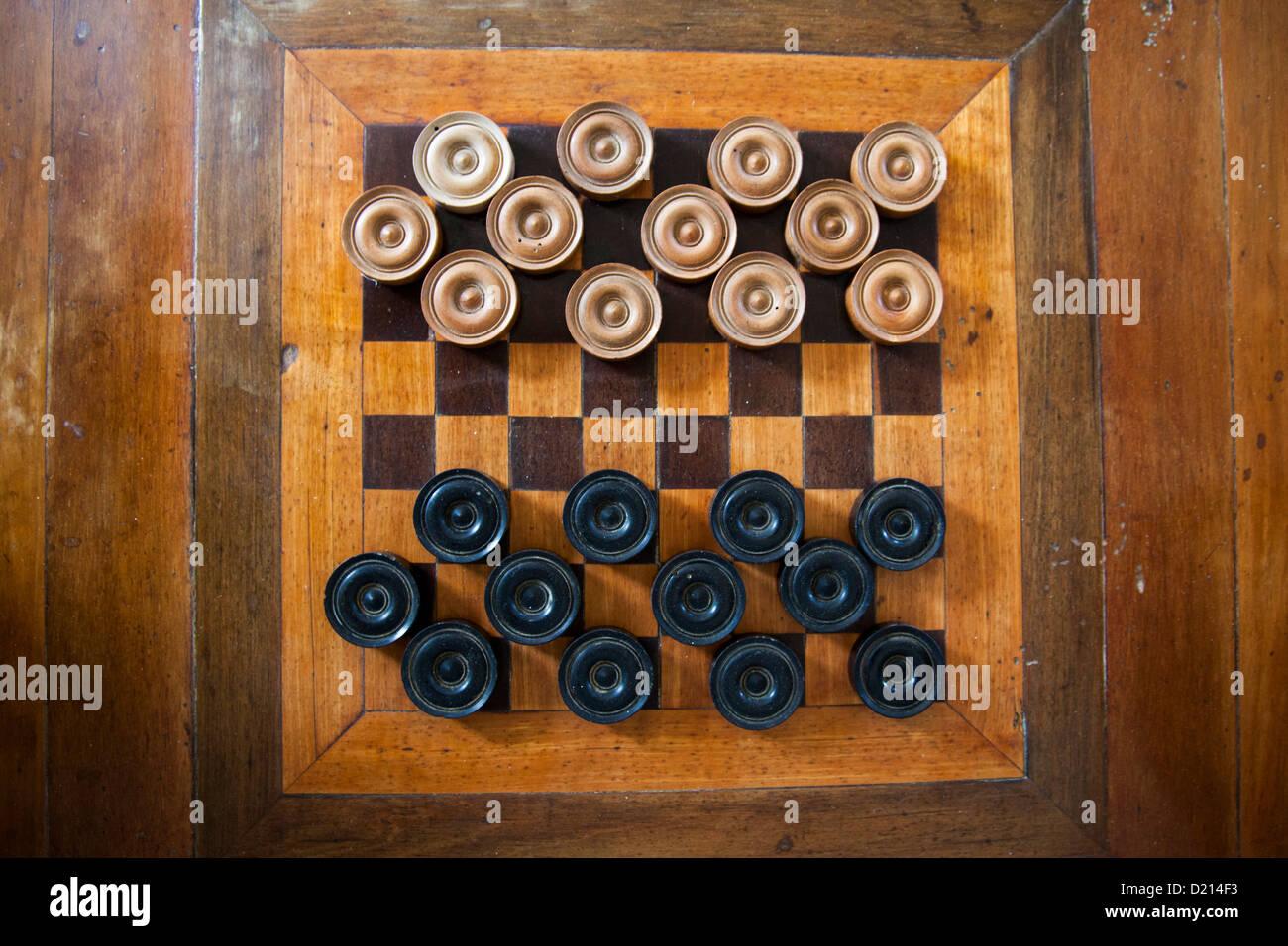 Schachbrett im Greenwood Greathouse, in der Nähe von Falmouth, St. James, Jamaika, Karibik Stockbild